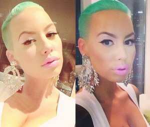 Amber Rose a les cheveux verts